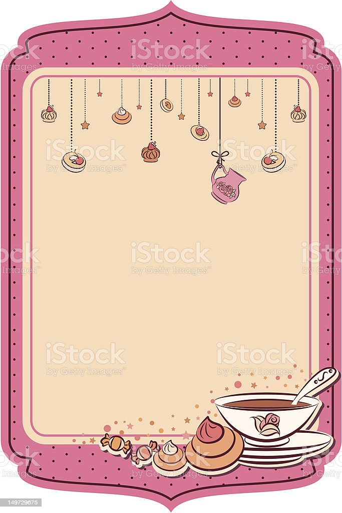 Vintage tea set and sweet cakes. Vector royalty-free vintage tea set and sweet cakes vector stock vector art & more images of beauty