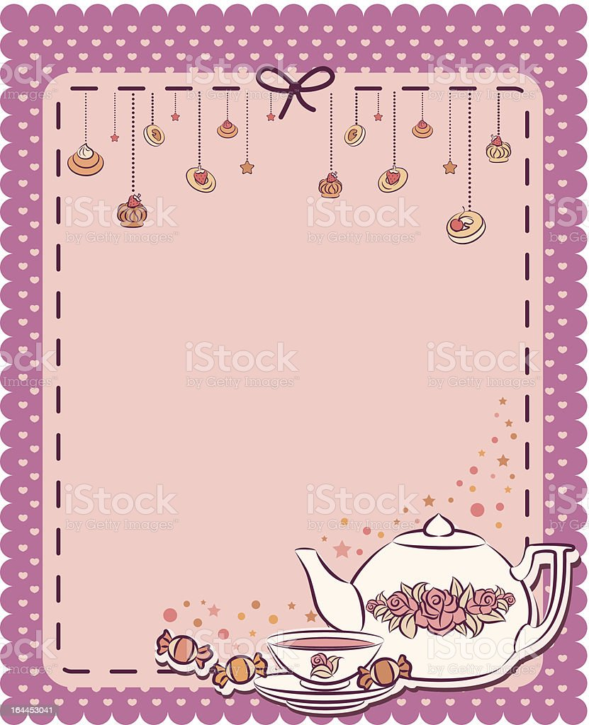 Vintage tea set and sweet cakes. Vector royalty-free stock vector art