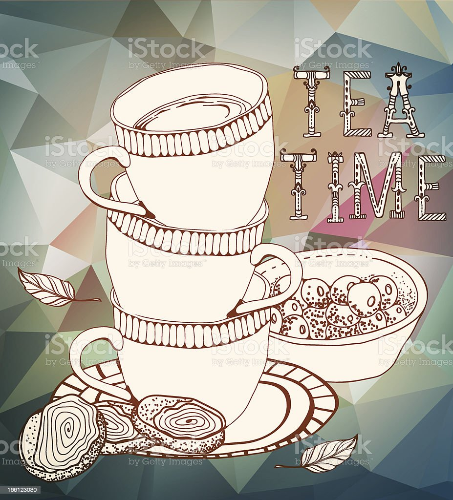 Vintage tea time background royalty-free stock vector art