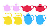 Vintage teapots set. Vector flat kettels illustration