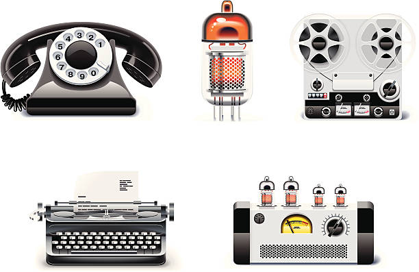 stockillustraties, clipart, cartoons en iconen met vintage technologies icon set - radiobuis
