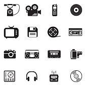Vintage Technology Icons. Black Flat Design. Vector Illustration.
