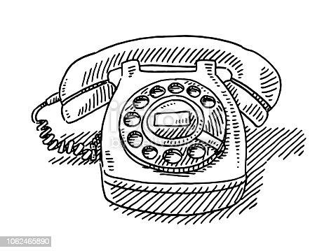 Hand-drawn vector drawing of a Vintage Telephone. Black-and-White sketch on a transparent background (.eps-file). Included files are EPS (v10) and Hi-Res JPG.