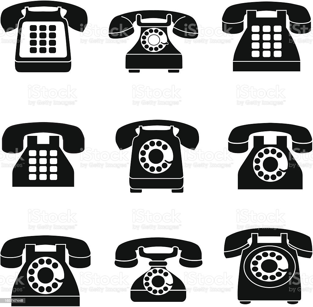 vintage telephone icons vector art illustration