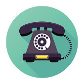Flat & Long Shadow, Vintage Rotary Telephone Icon