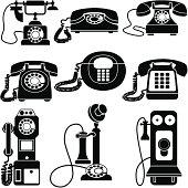 vintage telephones black and white