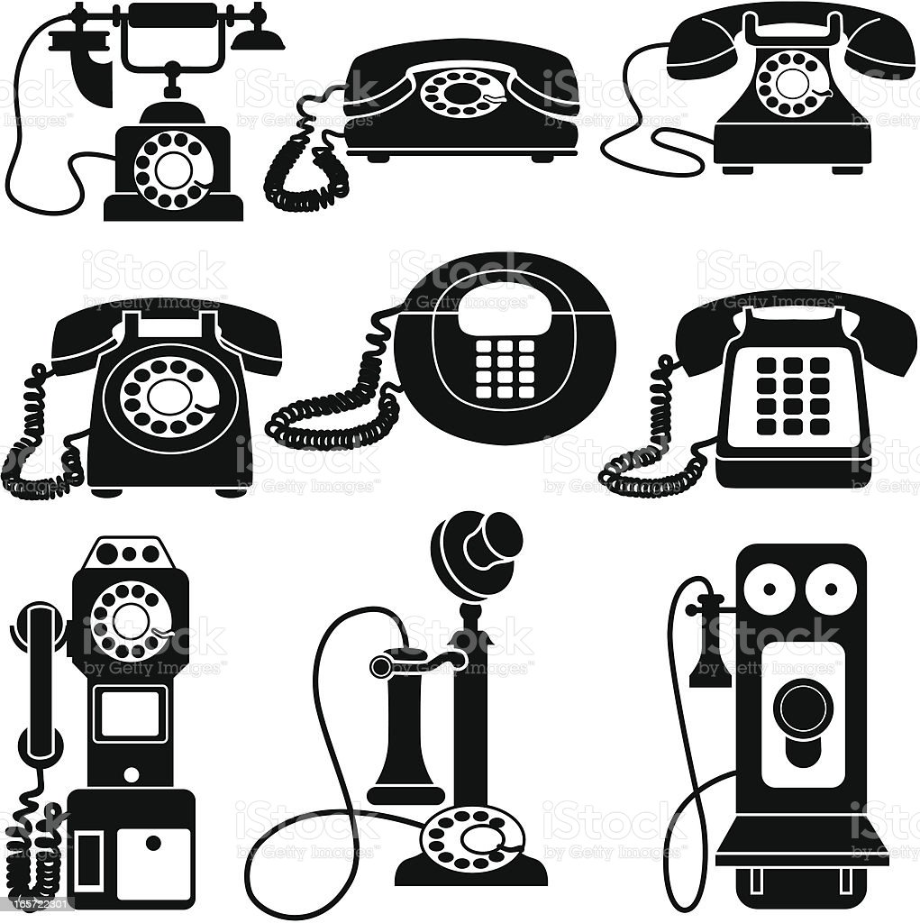 vintage telephones black and white vector art illustration