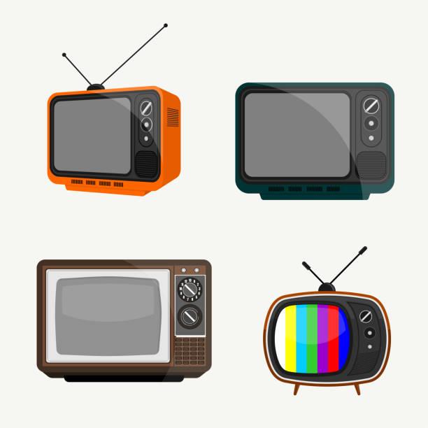 빈티지 텔레비전 벡터 디자인 세트 - 텔레비전 산업 stock illustrations