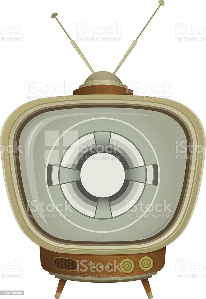 Vintage Television with Test Pattern vector art illustration