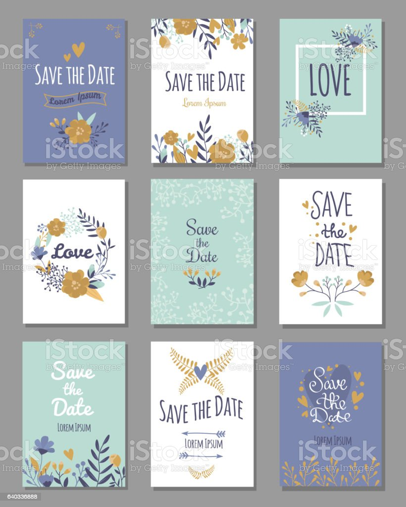 vintage template colorful save date print layout design vector