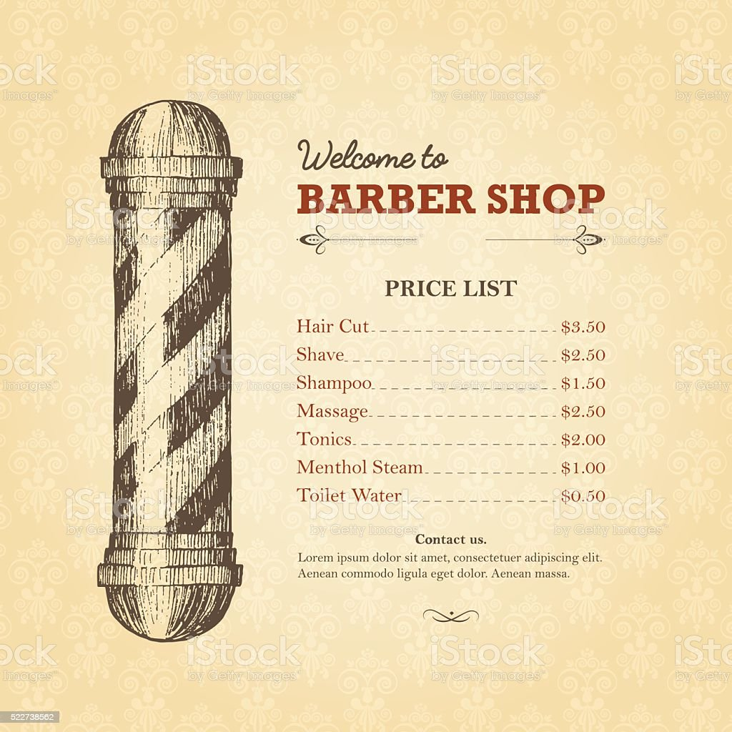 vintage template of barber shop price list with pole stock vector