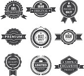 Vintage template of monochrome premium labels for guarantee bestseller and others. Vector stickers quality premium banner, best offer and warranty illustration