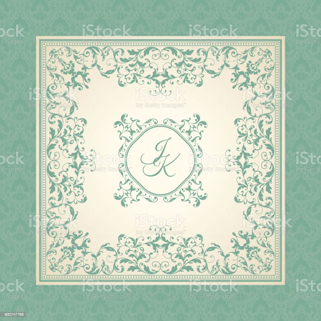 Vintage Template With Pattern And Ornate Frame Ornamental Lace ...