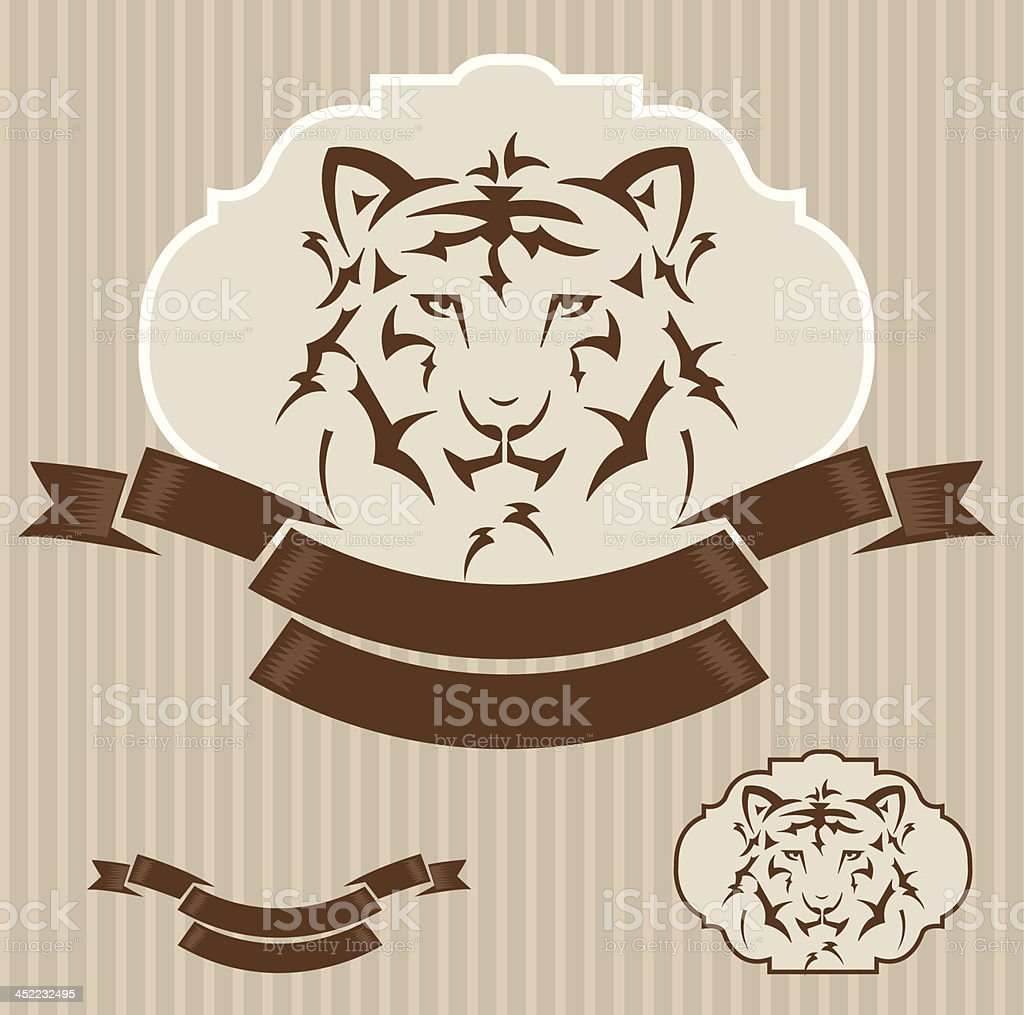 vintage template with tiger