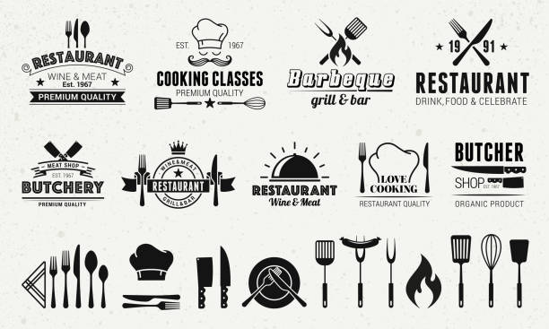 stockillustraties, clipart, cartoons en iconen met 9 vintage templates en 19 design elementen voor restaurant business. butchery, barbecue, restaurant emblemen templates. vector illustratie - meat pan