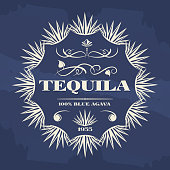 Vintage tequila banner or poster design with agava plants. Vector illustration