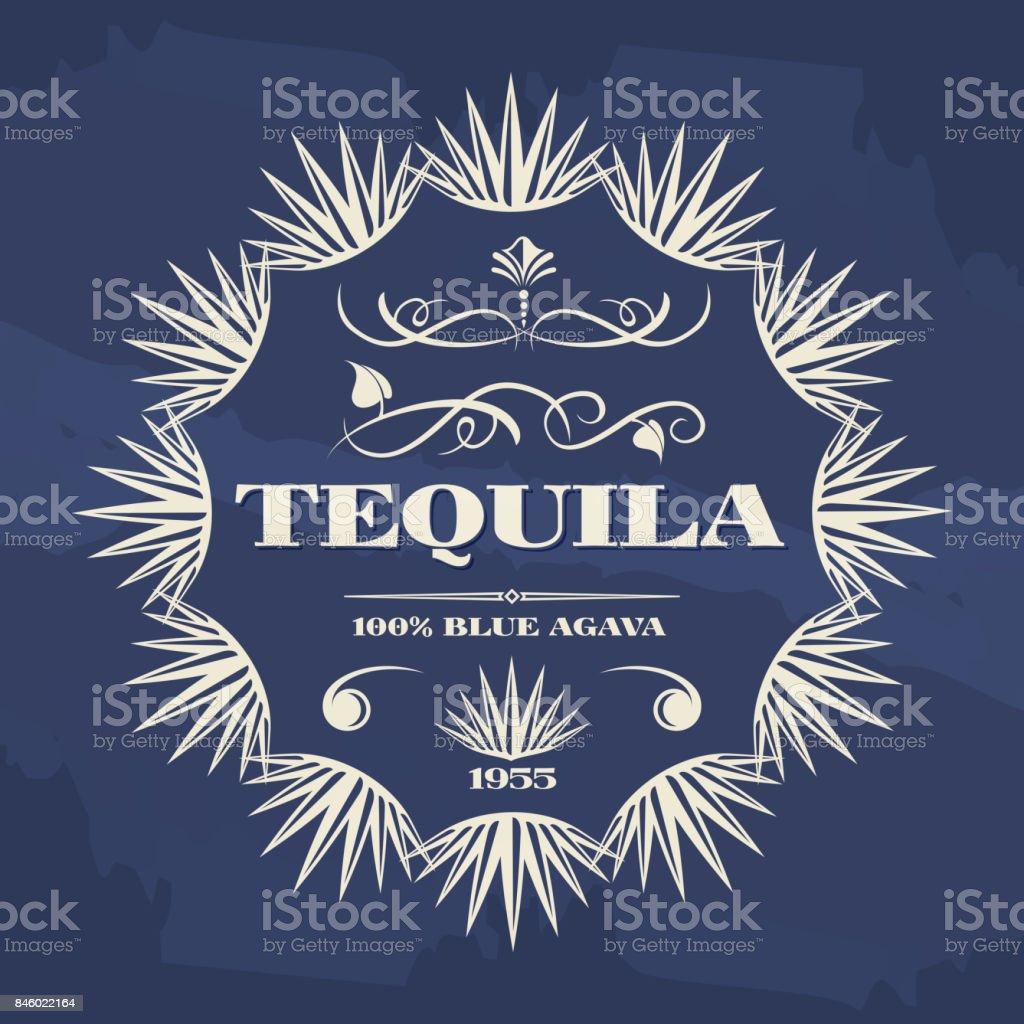 Vintage tequila banner or poster design vector art illustration