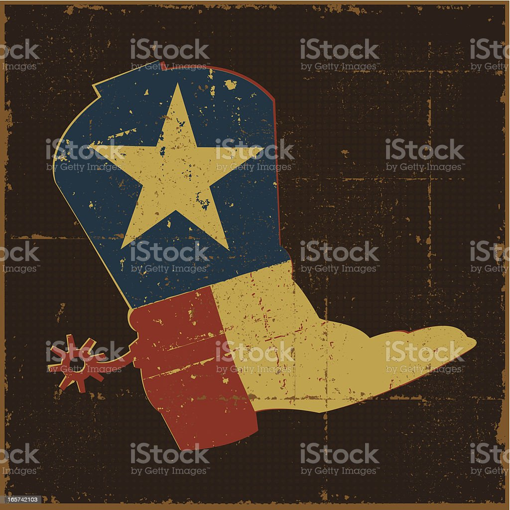 Vintage Texas Flag Boot vector art illustration