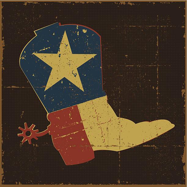 vintage texas flagge-stiefel - cowboystiefel stock-grafiken, -clipart, -cartoons und -symbole