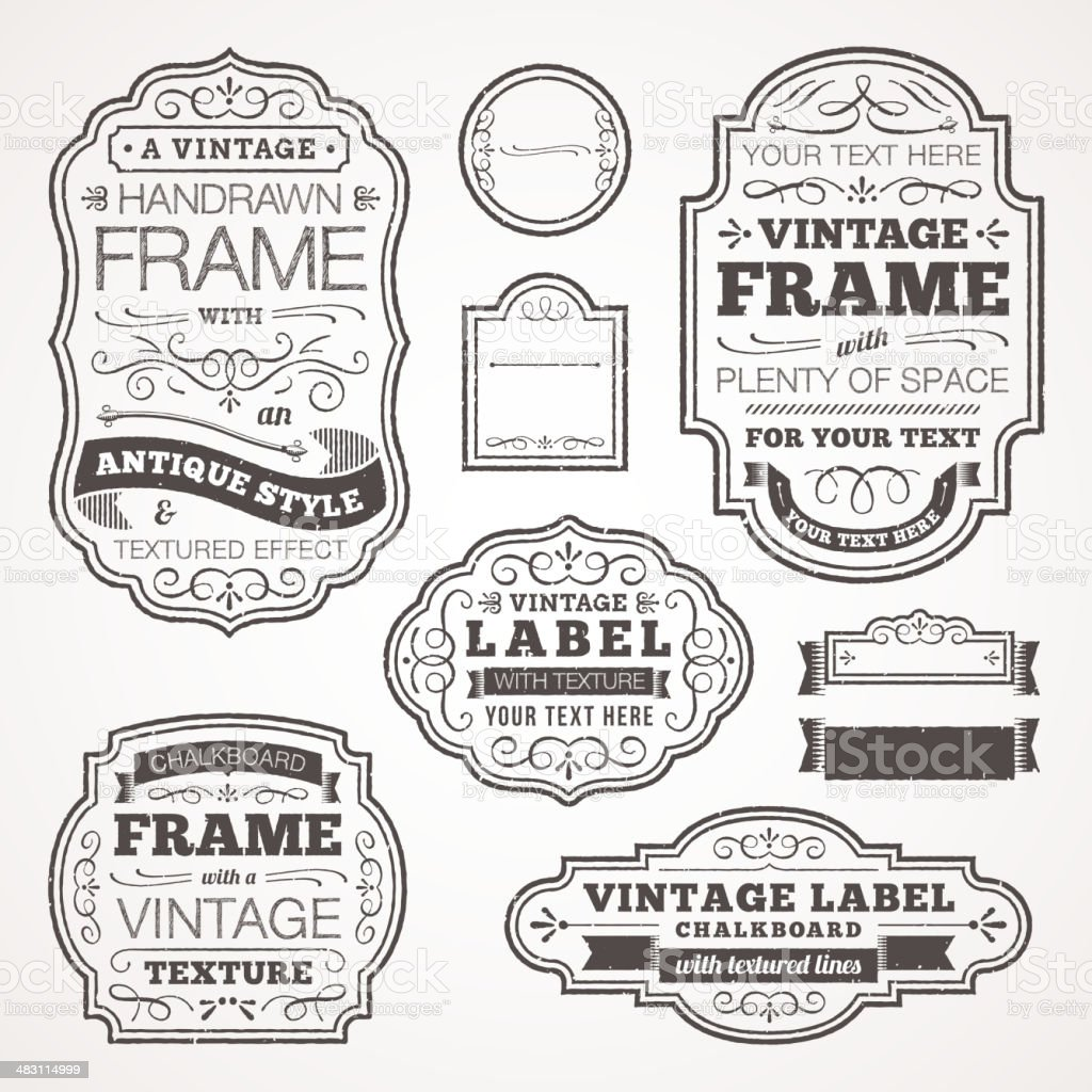 Vintage Text Frames Stock Vector Art & More Images of Antique ...