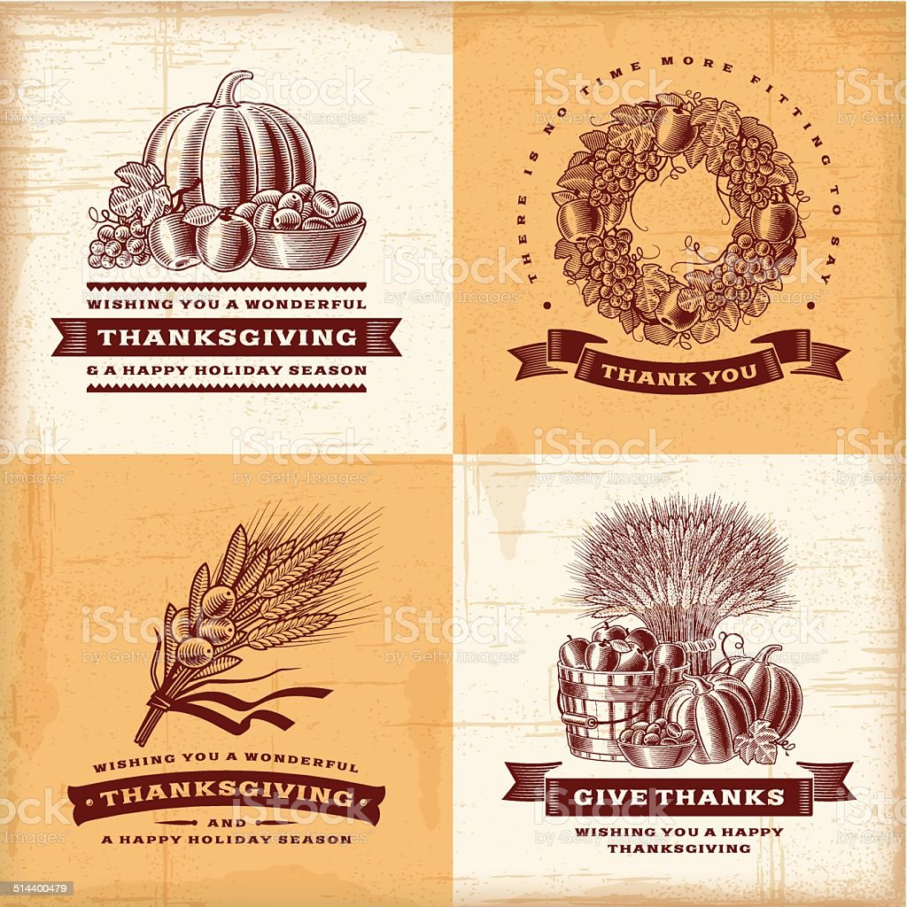 Vintage Thanksgiving labels set vector art illustration