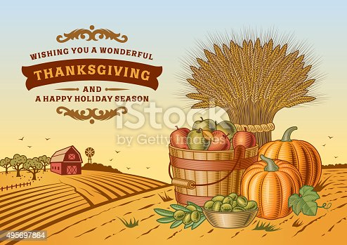 Vintage Thanksgiving landscape in woodcut style. Editable vector illustration with clipping mask. Includes high resolution JPG.