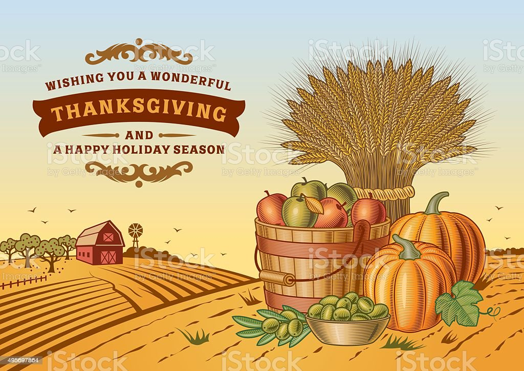 Vintage Thanksgiving Landscape vector art illustration