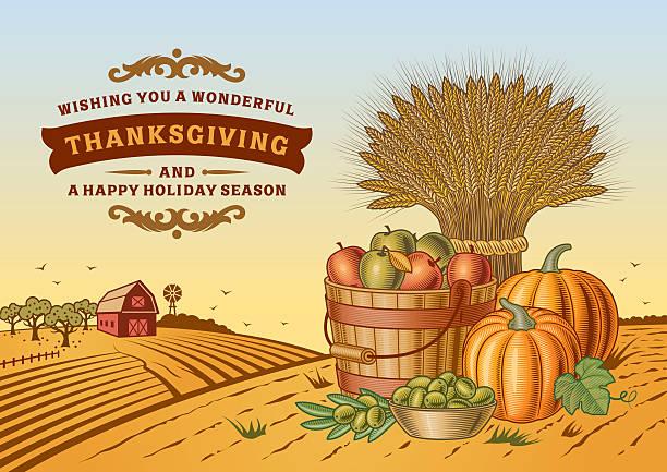 vintage thanksgiving landschaft - herbstgemüseanbau stock-grafiken, -clipart, -cartoons und -symbole
