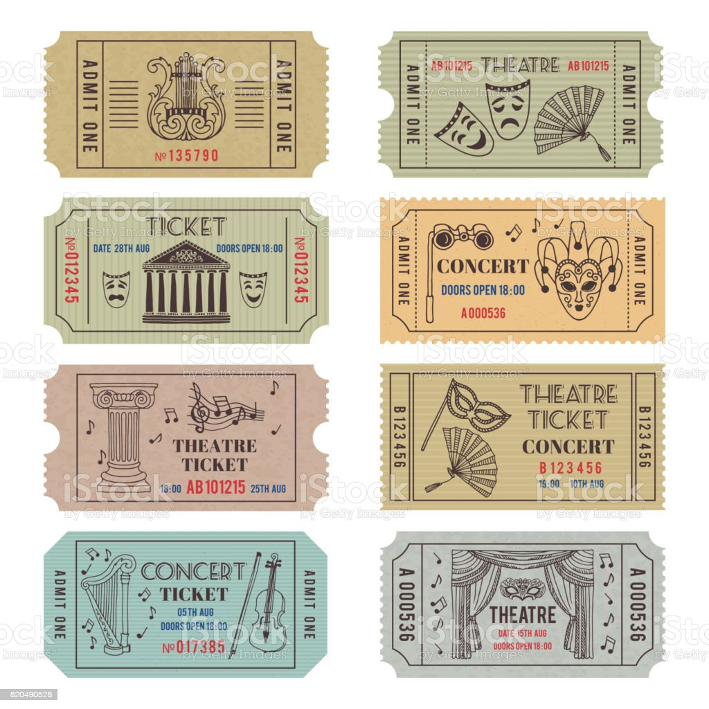 Vintage theatre or cinema tickets with different monochrome symbols of ballet or opera vector art illustration