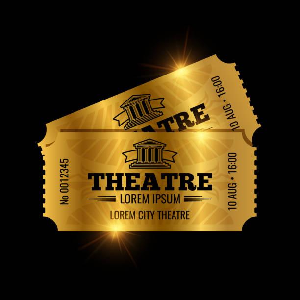 stockillustraties, clipart, cartoons en iconen met vintage theaterkaartjes vector sjabloon. vector gouden tickets geïsoleerd op zwarte achtergrondkleur - ticket