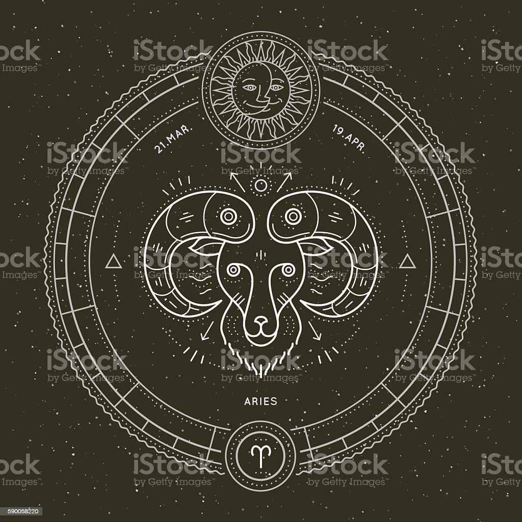 Vintage thin line Aries zodiac sign label. - Illustration vectorielle