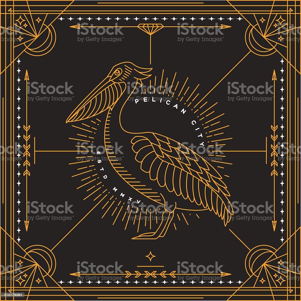 Vintage thin line bird label vector art illustration