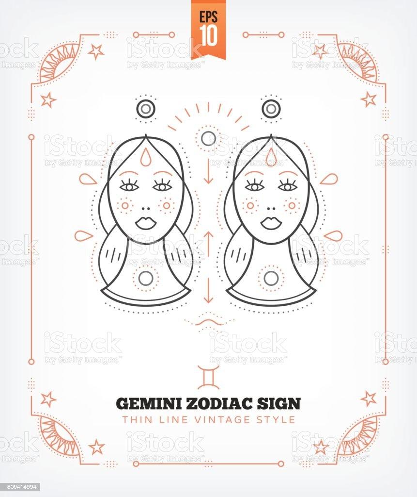 Vintage thin line gemini zodiac sign label retro vector vintage thin line gemini zodiac sign label retro vector astrological symbol mystic sacred biocorpaavc Images