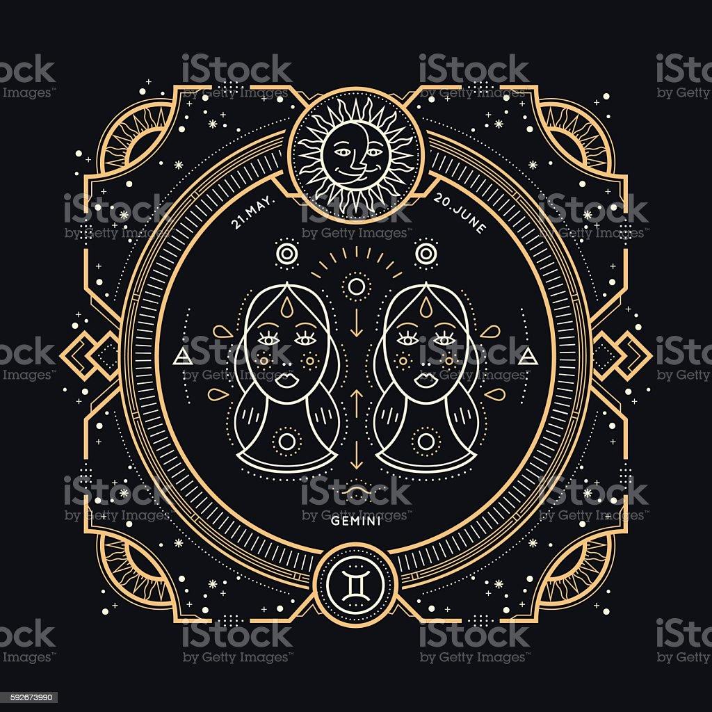 Klassisch dünne Linie Zwillinge Sternzeichen label. – Vektorgrafik