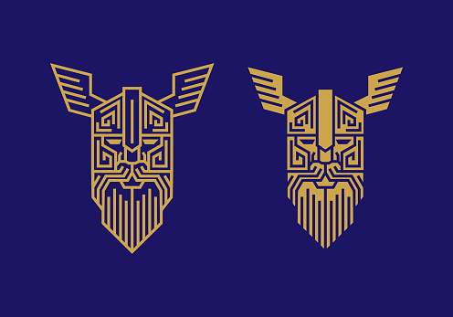 vintage thin line golden norse god odin vector icon