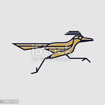 istock vintage thin line golden road runner bird vector icon 1283810168