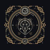 istock Vintage thin line Leo zodiac sign label. 592674026
