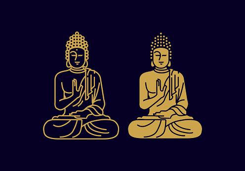 vintage thin line meditating buddha statue vector icon