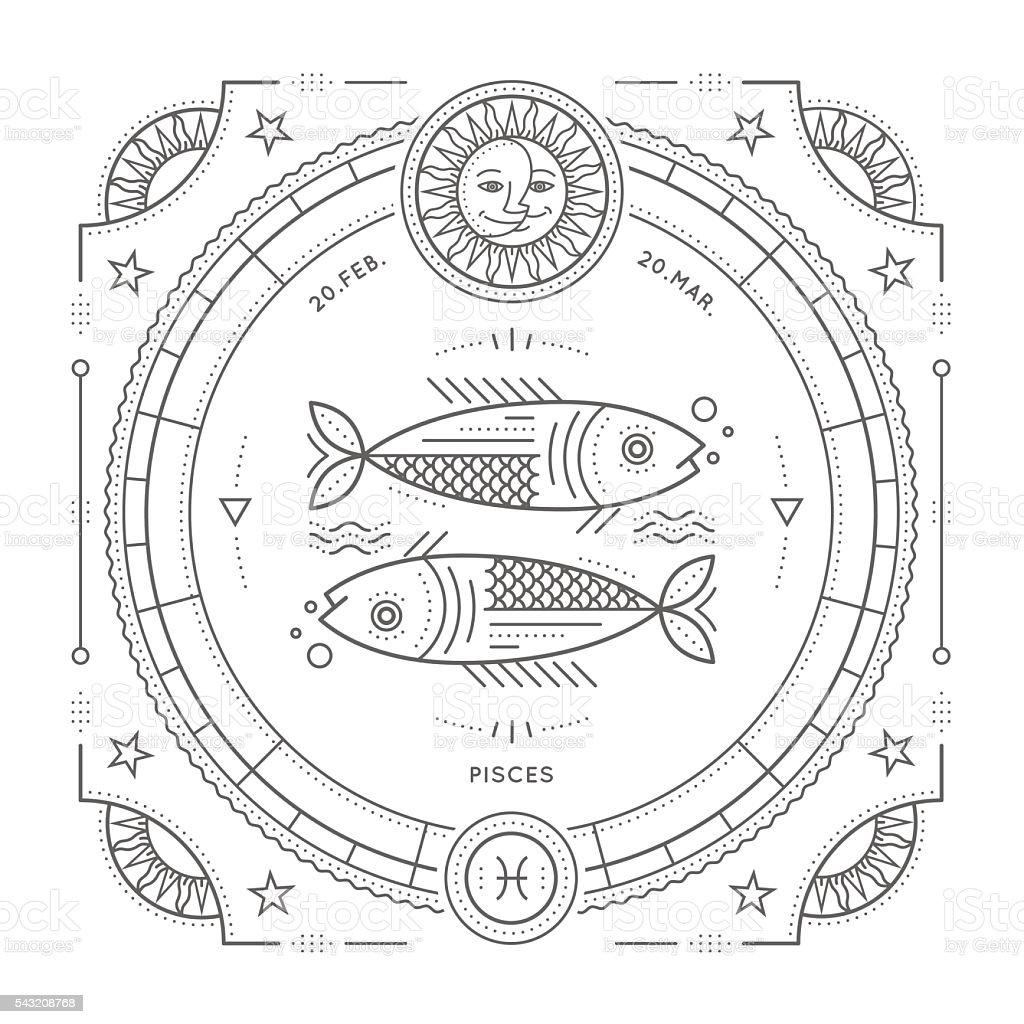 Vintage Thin Line Pisces Zodiac Sign Label Royalty Free