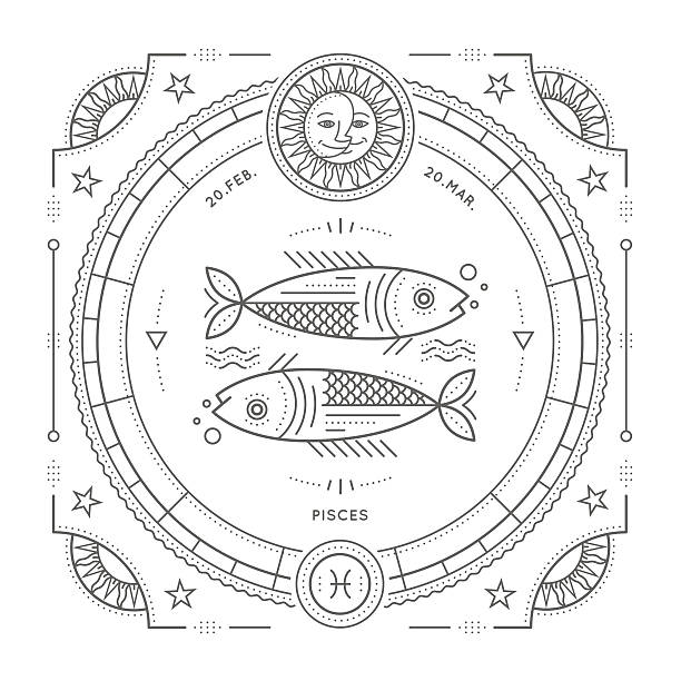 illustrations, cliparts, dessins animés et icônes de vintage thin line pisces zodiac sign label. - pisces zodiac