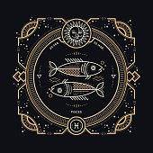 Vintage thin line Pisces zodiac sign label.