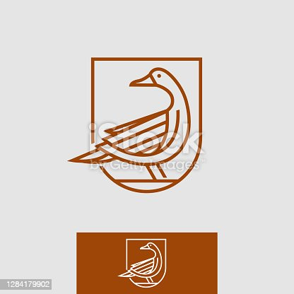 editable vector icon of a vintage thin line royal goose crest coat of arms