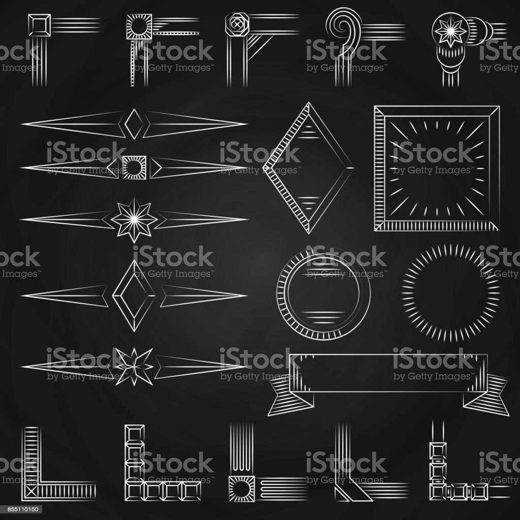 Vintage tunn linje former, ramar hörn på svarta tavlan vektorkonstillustration