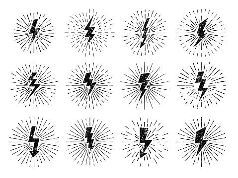 Vintage thunderbolt sign. Retro energy burst, lightning starburst and lightnings blitz flash hipster signs. Shiny electric logo or comic idea metaphor. Vector illustration isolated icons set