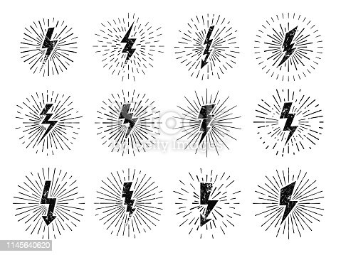 Vintage thunderbolt sign. Retro energy burst, lightning starburst and lightnings blitz flash hipster signs. Shiny electric logo or comic idea metaphor. Vector illustration isolated icons set
