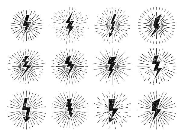 vintage thunderbolt sign. retro energy burst, lightning starburst and lightnings blitz flash hipster signs vector illustration set - autorytet stock illustrations