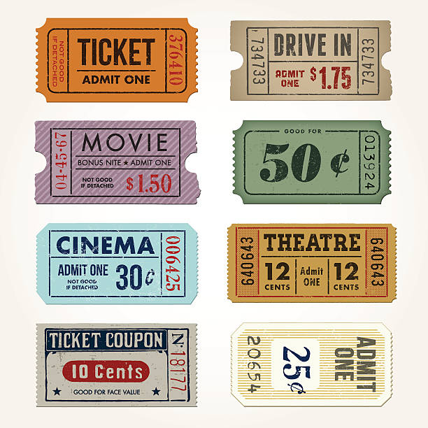 Vintage Tickets and Coupons Collection A comprehensive set of high detail Vintage grunge Tickets and Coupons, suitable for paper or web publishing. admit one stock illustrations