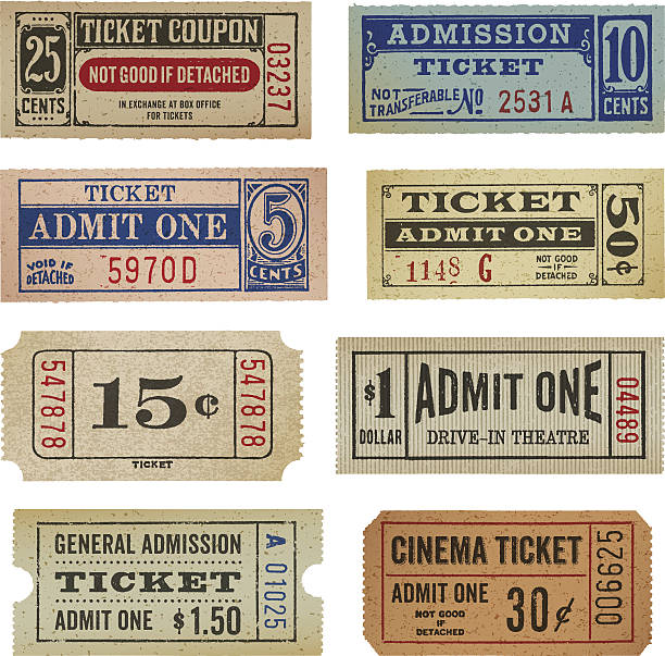 Vintage Tickets and Coupons Weathered old fashioned tickets. EPS 10 file with transparencies. admit one stock illustrations