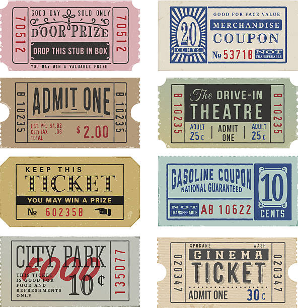 Vintage Tickets and Coupons Vintage Tickets and Coupons. EPS 10 movie ticket stock illustrations