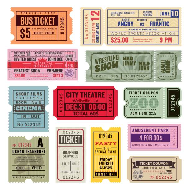 Vintage tickets. Hand ticket circus, cinema and concert party old paper voucher travelling cruise raffle coupon. Vector template set Vintage tickets. Hand ticket of circus, cinema and concert party. Old paper voucher, travelling cruise raffle coupon. Vector color isolated performance templates coupon stock illustrations